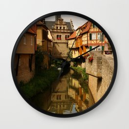 Medieval Village Reflection Wall Clock
