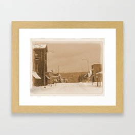 Old Main Street in the Snow Framed Art Print