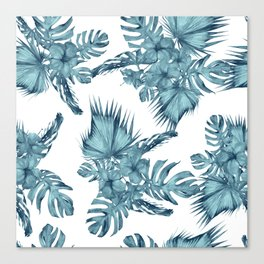Tropical Palm Leaves Hibiscus Flowers Blue Canvas Print