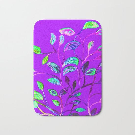 Neon Purple Pop Leaves Bath Mat