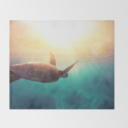 Sea Turtle - Underwater Nature Photography Throw Blanket
