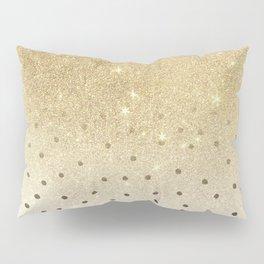 Black white polka dots gold glitter ombre Pillow Sham