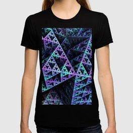 Lilac Ice 3D Sierpinski Triangle Fractal Art T-shirt