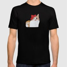 red hat cat  Mens Fitted Tee Black MEDIUM