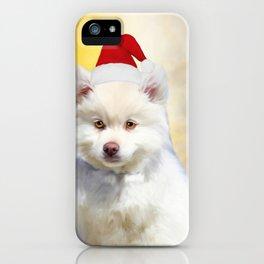 American Eskimo Dog Christmas Santa Hat iPhone Case