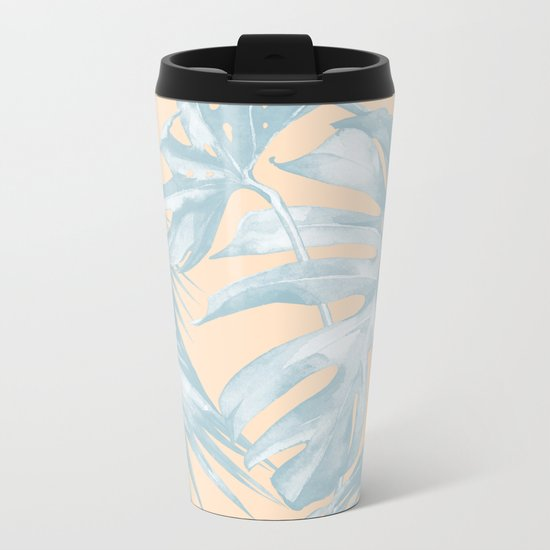 Tropical Plants Blue on Peach Coral Metal Travel Mug