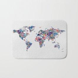 Moroccan Tile Mosaic Pattern World Map Art Bath Mat