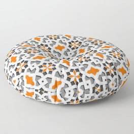 black, white, grey, orange -  Oriental design - orient  pattern - arabic style geometric mosaic Floor Pillow