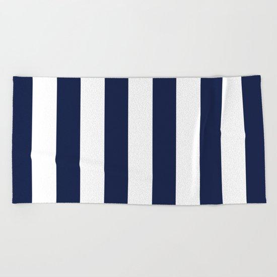 Simply Vertical Stripes in Nautical Navy Blue Beach Towel
