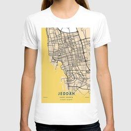 Jeddah Yellow City Map T-shirt