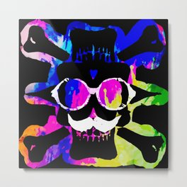 old vintage funny skull art portrait with painting abstract background in pink blue yellow green Metal Print