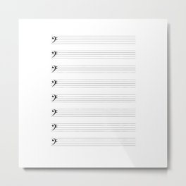 Bass Clef Staves Metal Print