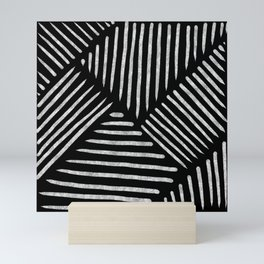 Lines and Patterns in Black and White Brush Mini Art Print