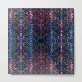 Snakeskin Animal Print Art - Charcoal Black, Blue, Pink | Abstract Watercolor Snake Skin Print Metal Print