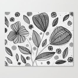 Black and white watercolor flowers Canvas Print