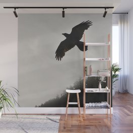 Raven Corvid Bird Northwest Mist Fog Forest Beach Landscape Oregon Wall Mural