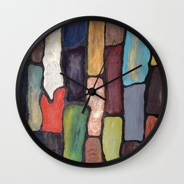 Colorful Abstract art turquoise, red green mix with gold dust Wall Clock