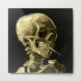 Skull Of A Skeleton With A Burning Cigarette - Vincent Van Gogh Metal Print