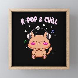 K-Pop & Chill Cute Kawaii Kitty Cat Framed Mini Art Print