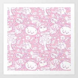 Cat pattern Pink Art Print
