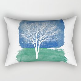 White Tree Watercolor Painting Rectangular Pillow