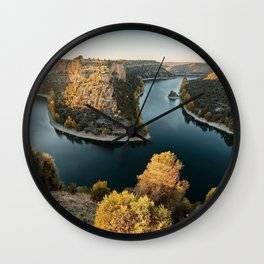 rocks river autumn sunset river turn beautiful landscape Wall Clock