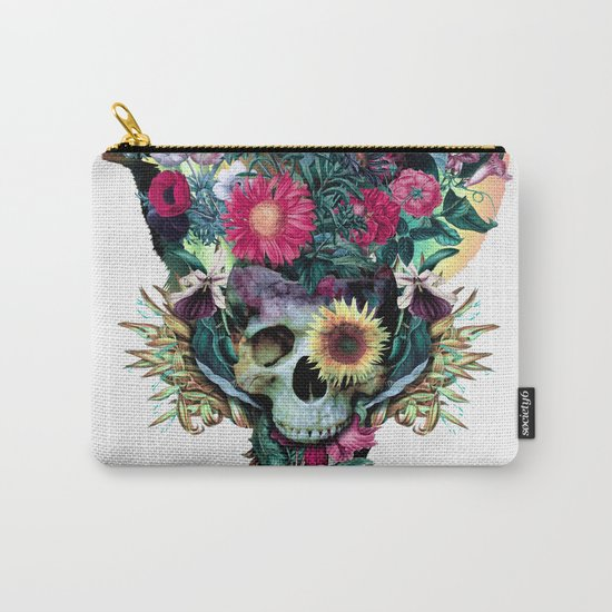 Floral Skull Vivid V Carry-All Pouch