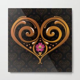 Argentine Tango Lover Golden Flower Heart Filete Tote Bag Metal Print