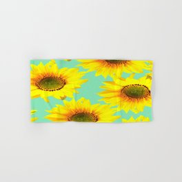 Sunflowers on a pastel green backgrond - #Society6 #buyart Hand & Bath Towel