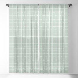 Minimalism Window Pane Grid, Sage Green Sheer Curtain