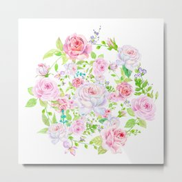 Bouquet of PINK & WHITE rose - wreath Metal Print