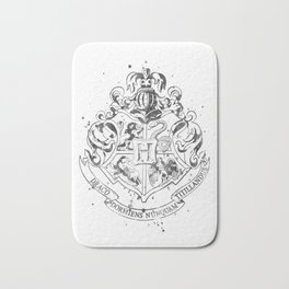 Hogwarts Crest Black and White Bath Mat