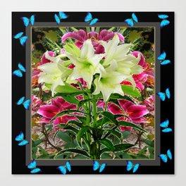 BLUE BUTTERFLIES WHITE LILIES  BLACK FLORAL ART Canvas Print