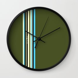 Stripes on kaki background - turquoise - ivory - limited edition 30/30 Wall Clock