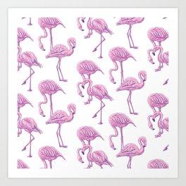 Pink flamingo pattern Art Print