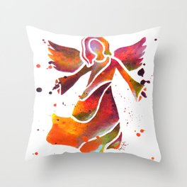 Colorful Angel Acrylic Abstract Painting by Saribelle Rodriguez Throw Pillow