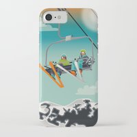 ski iPhone & iPod Cases featuring Ski Lift by Park City Posters