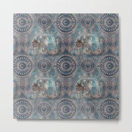 Elephant Ethnic Style Pattern Teal and Copper Metal Print