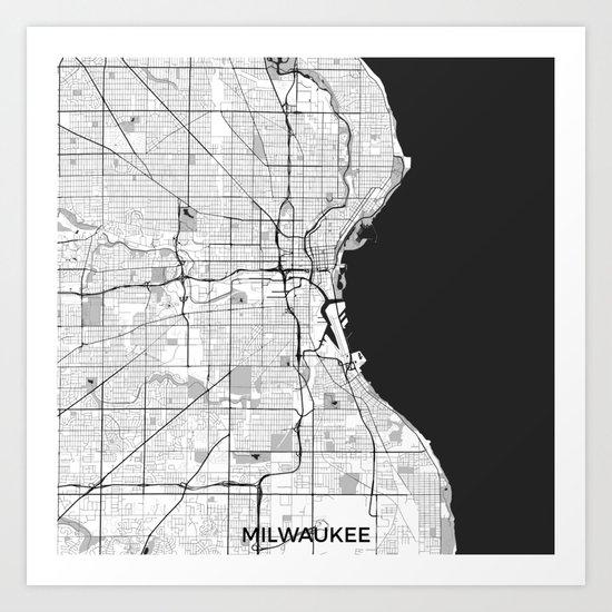 Milwaukee Map Gray Art Print