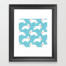 Happy Bunnies with Glasses Framed Art Print