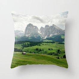 Mountain view in the Italian Dolomites Throw Pillow