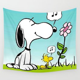 snoopy flower and music Wall Tapestry