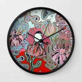 Red Protea Sunset Bird Wall Clock