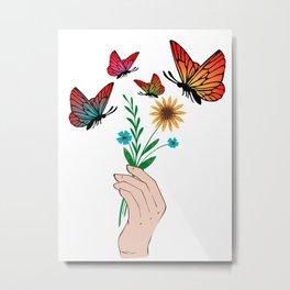 butterfly canvas art, sunflower and butterflies Metal Print