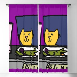 Cat at a table Blackout Curtain