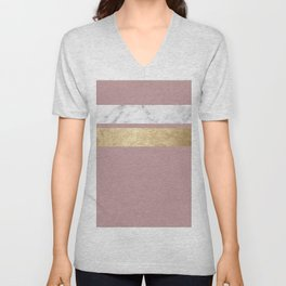 Mauve in the night marble Unisex V-Neck