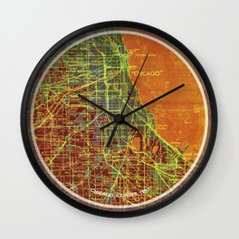 Chicago map, Frank Lloyd Wright Quote, Chicago 1957 Wall Clock