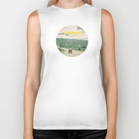 adventure Biker Tanks featuring NEVER STOP EXPLORING - vintage volkswagen van by Leslee Mitchell