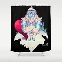 snowboard Shower Curtains featuring Snowboard Yeti [black background] by garciarts