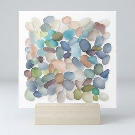 Assorted multicolored glass pebbles Mini Art Print